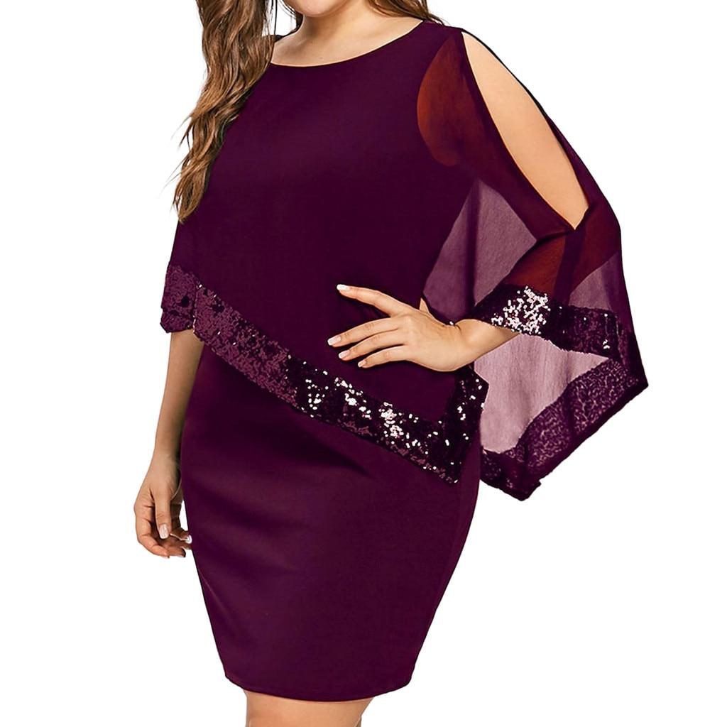 Vestido de verão feminino plus size ombro frio sobreposição assimétrica chiffon strapless lantejoulas mini vestidos de festa # t1g