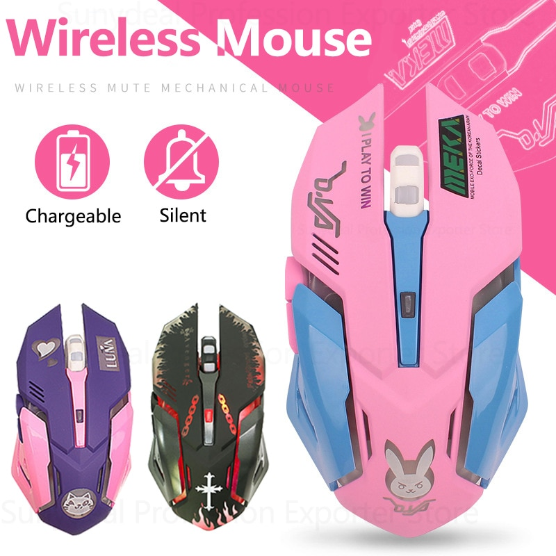 Professional Wireless Gaming Mouse 2.4G Rechargeable Mouse Silent 2400 DPI Ergonomic 6 Keys Mice RGB LED Backlight Optical Mouse