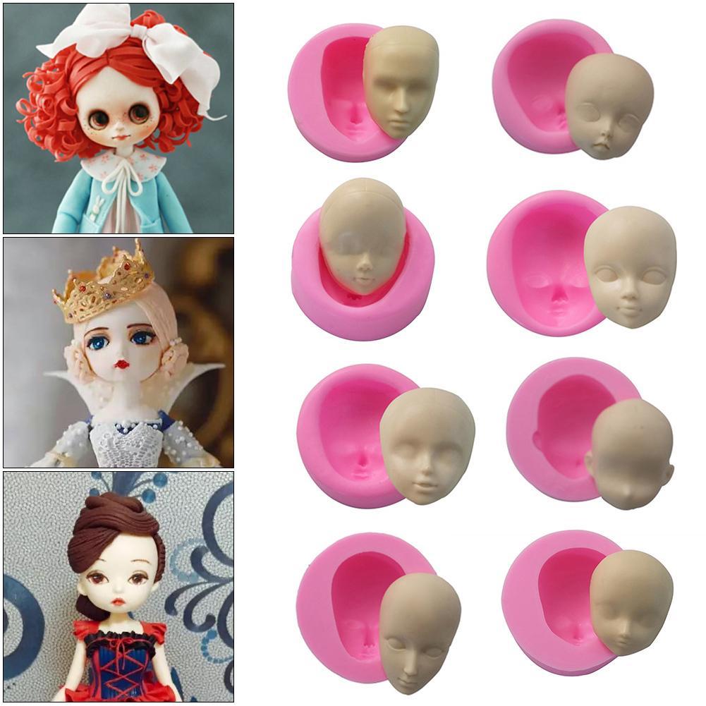 Bonitos muñecos de bebé, molde para dulce pastelero de Chocolate con cara de silicona, moldes artesanales hechos a mano, moldes para cabeza de muñeca, molde de cocina, utensilios para hornear