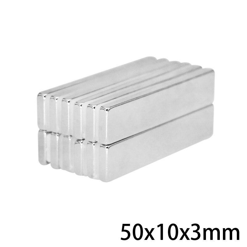 Imanes N35 de gran alcance de 5 ~ 50 Uds. De 50x10x3mm, imán permanente de hoja larga de 50mm x 10x3mm, imán de neodimio súper fuerte de 50x10x3mm