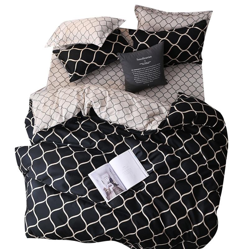 Classic Geometric Bedding Set 10 Size Printed Bed Linen 3pcs Sets Duvet Cover Set Included Duvet Cover/Pillowcase*2 Home Sleep