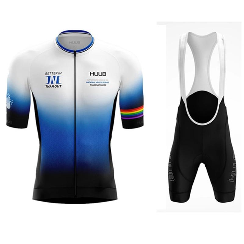 2020 huub dos homens verão nova manga curta jérsei define 19d gel almofada bib shorts trajes mujer ciclismo wear feminino bycicle wear