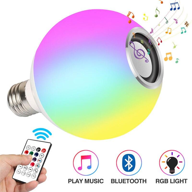 Интеллектуальный E27 RGB белый Bluetooth динамик светодиодный светильник лампа Регулируемый музыкальный светильник беспроводной светодиодный светильник 24 кнопки дистанционного управления