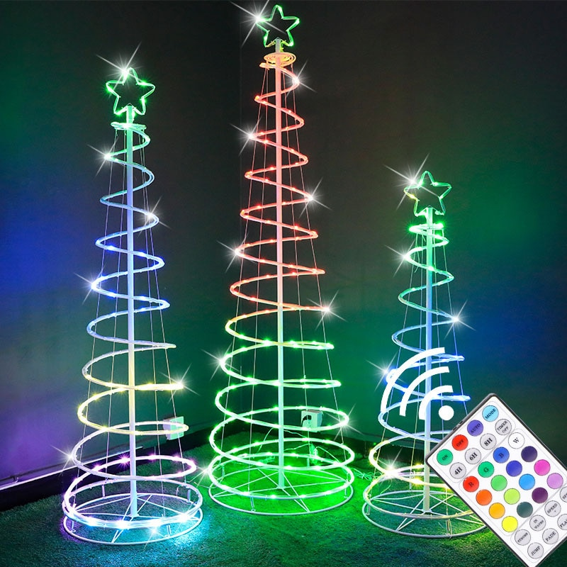 1.8m high Spiral Tower Tree light foldable Holiday Led christmas string lights RGB Lamp Birthday Party home Garden decoration