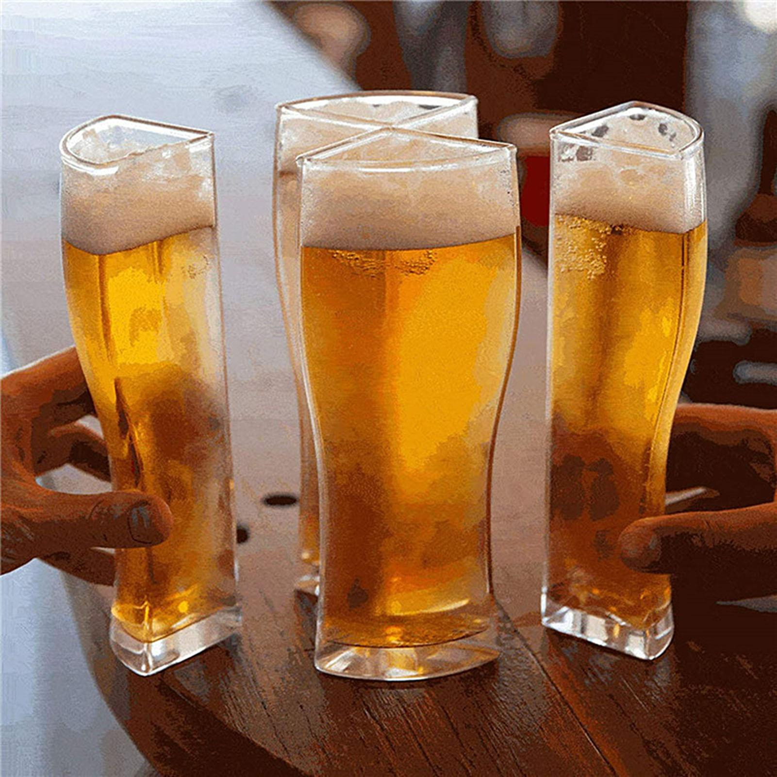 Separable 4 Part Large Capacity Thick Clear Beer Glasses Mug Cup for Club Bar