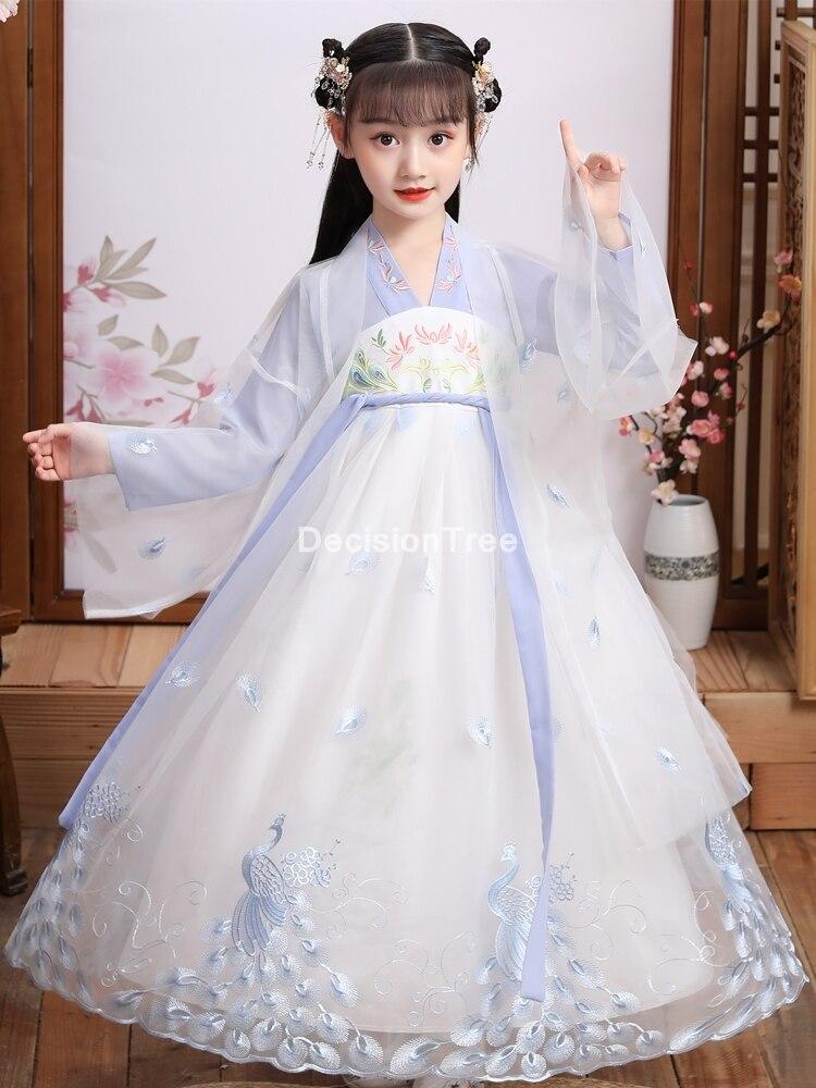 فستان بناتي تقليدي لعام 2021 ملابس أطفال من hanfu فساتين حفلات تنكرية فستان حفلات رقص للأطفال لأسرة تانغ الصينية القديمة