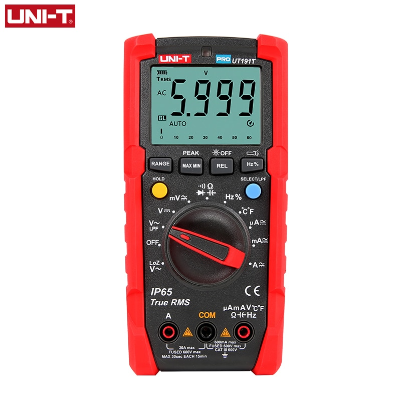 UNI-T Tester Digital Multimeter Profesional UT191T UT191E True RMS Auto Range DMM 20A Amperemeter 600V Zählen 6000 DC AC kondensator