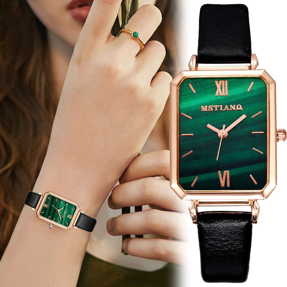 Luxury Malachite Dial Watch for Women Lady Simple Square Plate Digital Watch Lover Valentine's Day G