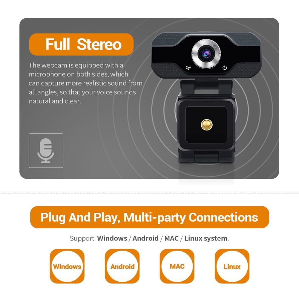 Cámara Web Full HD de 1080P micrófono integrado USB Plug and Play Video Conferencia Streaming en vivo para ordenador portátil de escritorio