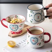 nordic style ceramic coffee cup home office couple retro cute cherry rose water cup oatmeal tea ceramic mug milk cup