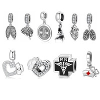 100% 925 Sterling Silver Nurse Charms Heart shape Sparkling CZ Beads Fit Original European Charms Bracelet Jewelry making