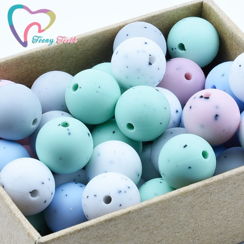 50PCS Gritty Colors 12 MM Silicone Round Beads Silicone DIY Baby Teething Necklace Chewable Silicone