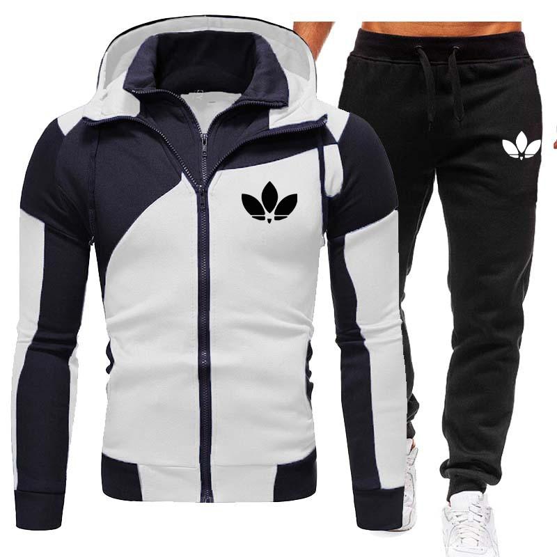 Осенне-зимние популярные мужские Брендовые куртки и черные брюки, высококачественные повседневные спортивные модные наряды с капюшоном и ...