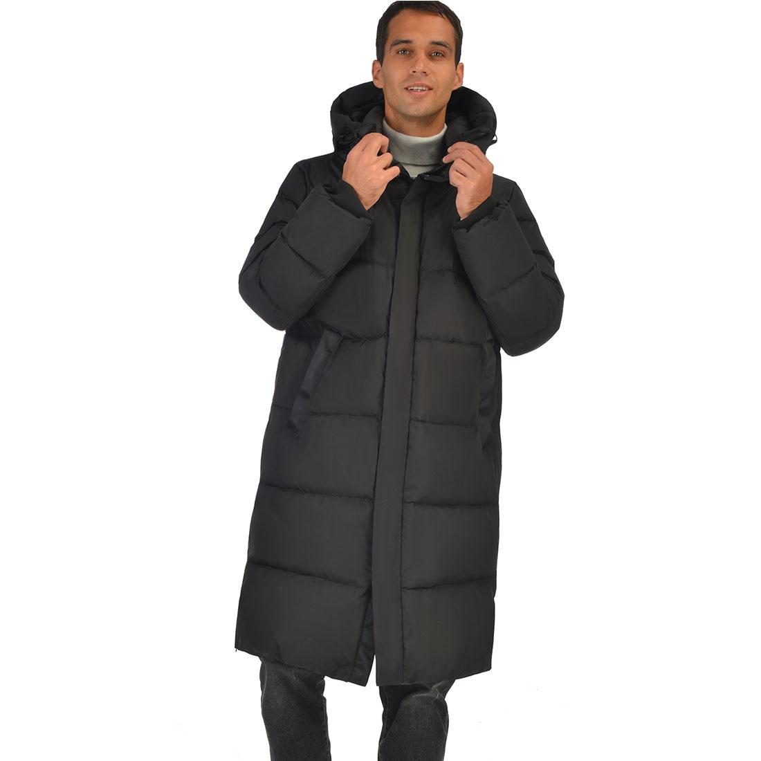Mens Long Down Jacket Coat Winter Lesmart Warm Padded Thicken Hooded Windbreaker High Quality Down Parka Overcoat