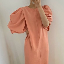 Summer new solid color loose /woman dress Round neck temperament commuting  dresses for women Puff s
