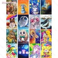 diy 5d diamond painting animal series full round square drill owl unicorn cat diamond embroidery mosaic art home decoration gift