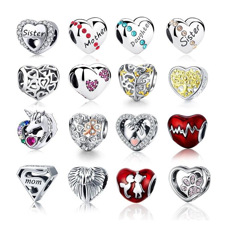 CodeMonkey 100% Real 925 Strerling Silver Heart Beads Fit Original Design Bracelet Love Heart Charms Beads DIY Jewelry Making