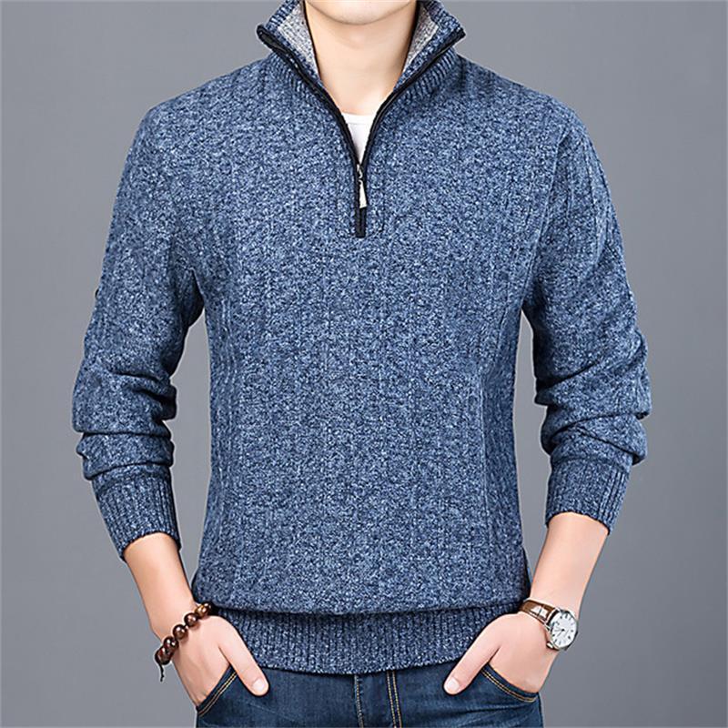Новинка 2021, зимний мужской свитер, Повседневный пуловер, мужской теплый свитер, вязаный пуловер, мужская куртка, свитер с полумолнией