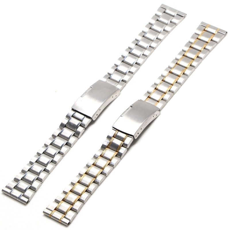 Stainless Steel Watch Strap Wrist Bracelet Silver Color Metal Watchband with Folding Clasp for Men Women 18mm 20mm 22mm welly merck silver stainless steel for men
