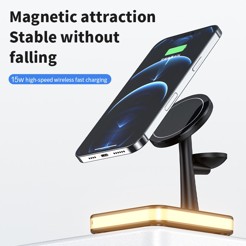 20W Max Wireless Charger Station Magsafing Fast 5 in 1 Smart Magnetic Holder For Phone Watch Headset