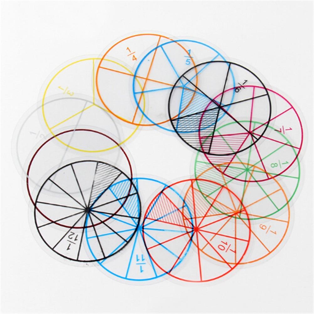 12 шт. / Лот математические дроби круги игрушки пластиковые пронумерованные дроби круги математические фишки математика номер игрушки оптом...