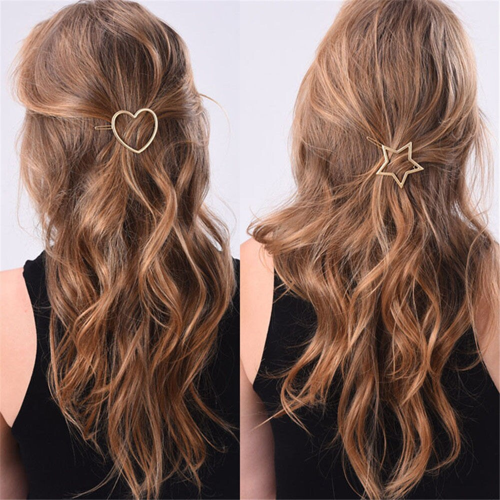 1 PC New Fashion Women Girls Hairpins Star Heart Hair Clip Delicate Pin Decorations Jewelry Accessories