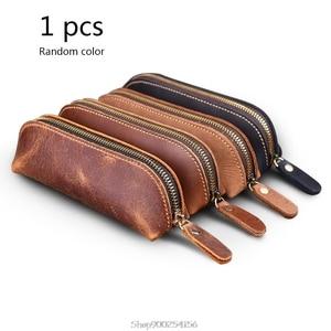 Handmade Genuine Leather Pencil Bag Vintage Retro Style Cowhide Zipper Pen Case School Bag Office Stationery O27 20 Dropship