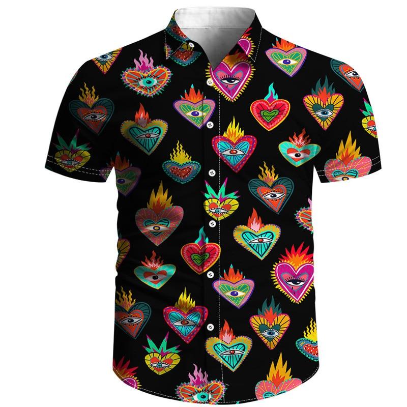 Лидер продаж, мужская рубашка, черно-белая рубашка с объемным рисунком, рубашка из тонкой окрашенной ткани, трендовая Повседневная пляжная ...