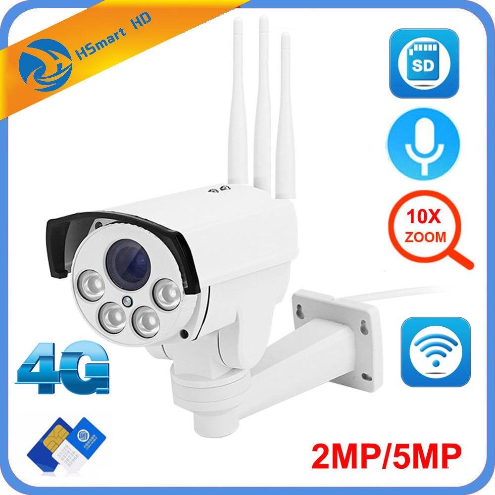 5MP 4G 3G tarjeta SIM Wifi cámara PTZ al aire libre HD 1080P Cámara inalámbrico IR 60M 10X Zoom enfoque automático CCTV cámara IP Wifi de Audio