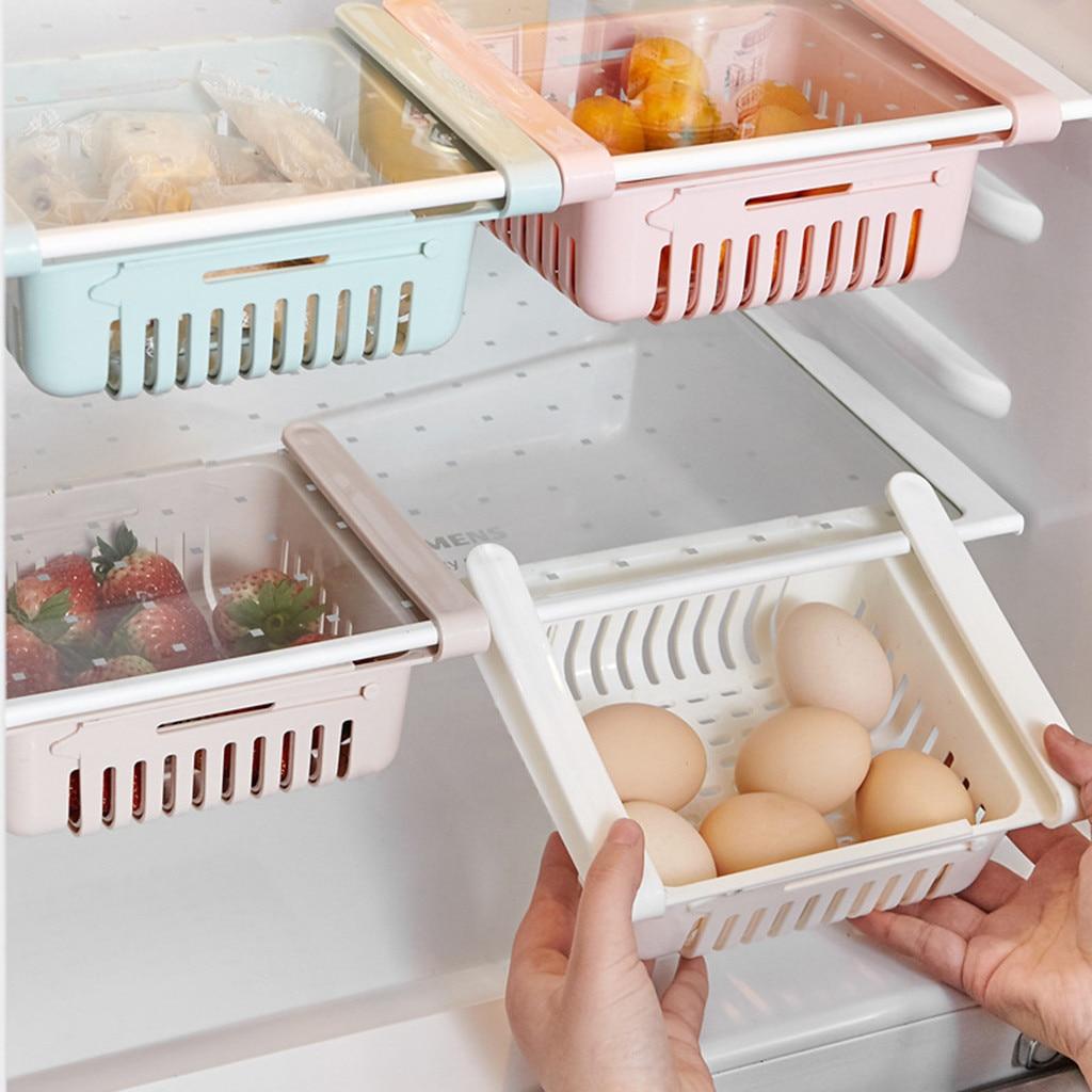 Mini soportes de almacenamiento ABS DIY tobogán de cocina nevera congelador ahorro de espacio organización estante de almacenamiento soporte de refrigerador # YL1