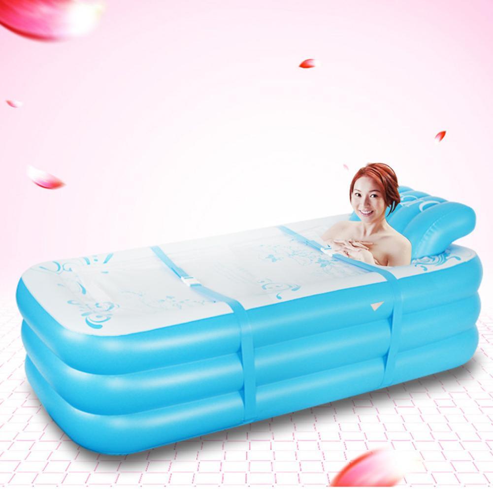 حوض استحمام قابل للنفخ على شكل حرف S مع مسند ظهر ، مسبح قابل للطي مع عزل PVC 1.8 متر ، للاستخدام العائلي ، للبالغين ، المنزل ، 40 أمبير