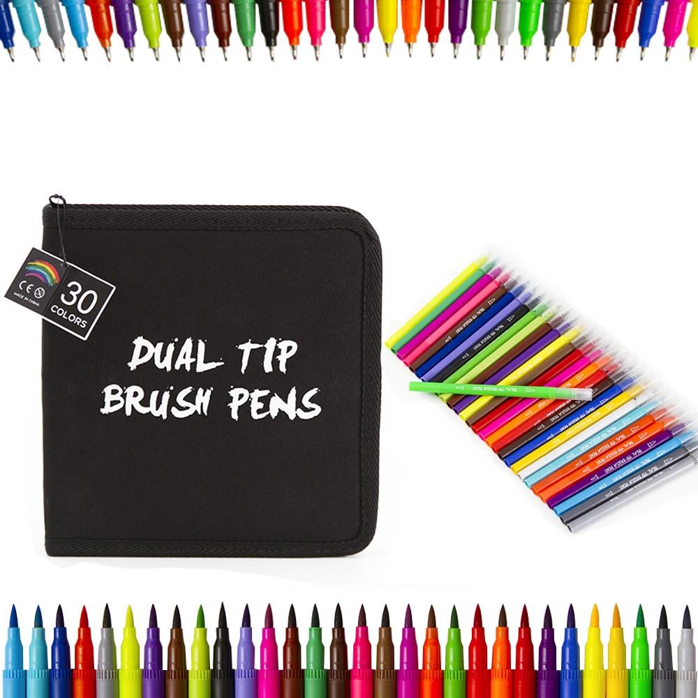 30 cores 0.4mm água à base de tinta arte marcador caneta escova dupla feltro-ponta caneta para desenho
