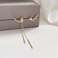 Korean Fashion Christmas Deer Horn Earrings for Women Cute Long Chain Asymmetry T Bar Earring Imitation Pearls Jewelry Accesory