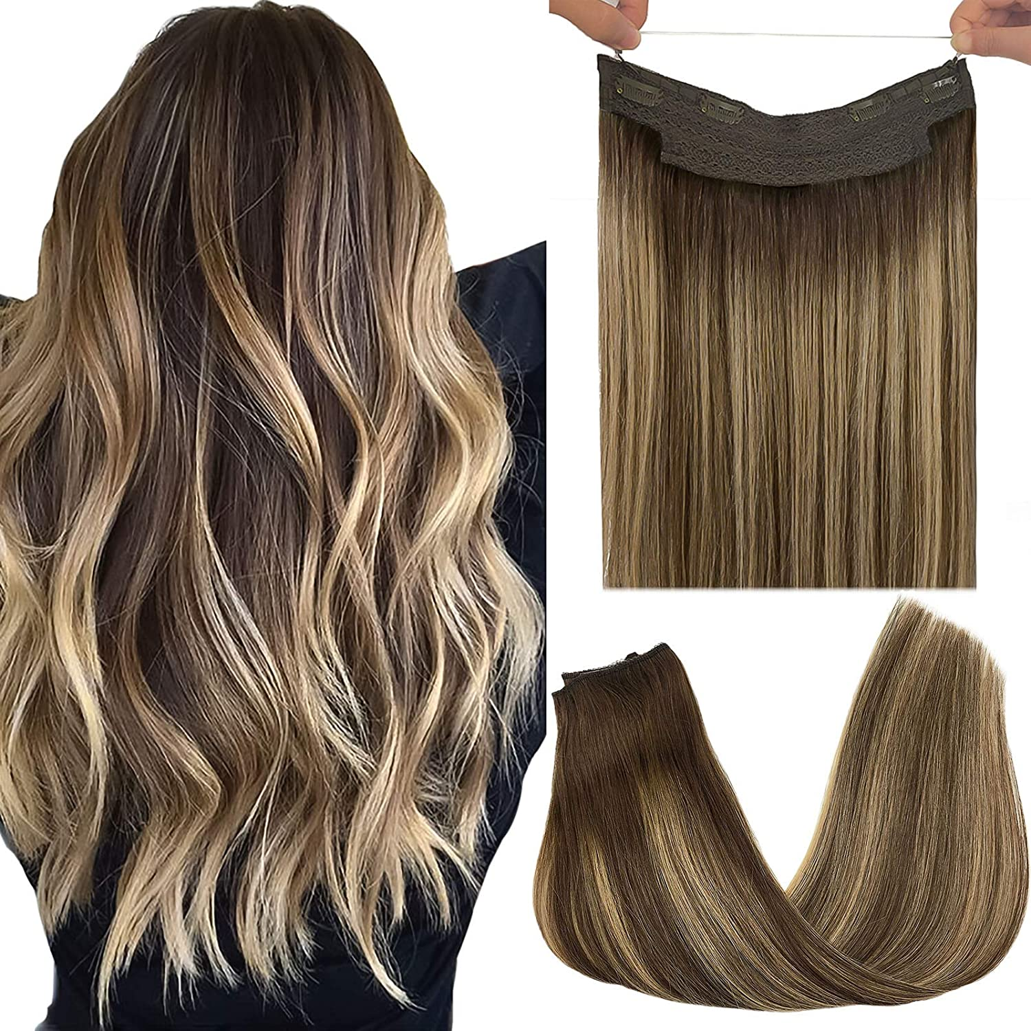 Invisible Fish Line Human Hair Extension Headband Natural Hidden Secret Wire One Piece Remy Hair Straight Halo Hair Extensions