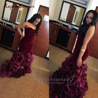 new burgundy long mermaid rose floral flowers tiered sweetheart velvet plus size formal party gowns evening dress vestios