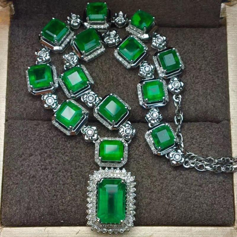 عقد سلسلة من الفضة الإسترليني عيار 925 مرصع بحجر الزمردي ، قلادة عتيقة من الذهب ، لحفلات الزفاف ، للنساء