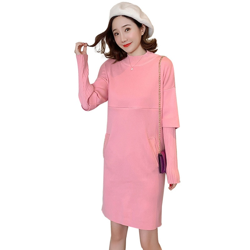 Maternity Nurse Sweater Women Breastfeeding Dress Knitted Dress Pregnant Breast-feeding Dress Winter Sweater Dress 1661065 enlarge