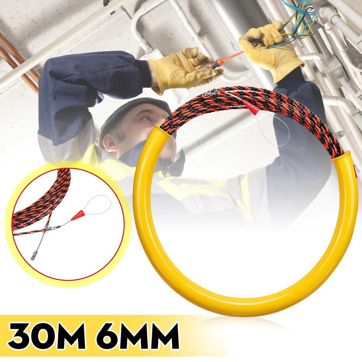 جهاز توجيه مستخرج الكابلات ، كابل كهربائي من الألياف الزجاجية والنايلون ، 30 مترًا ، 6 مللي متر ، 650 كجم