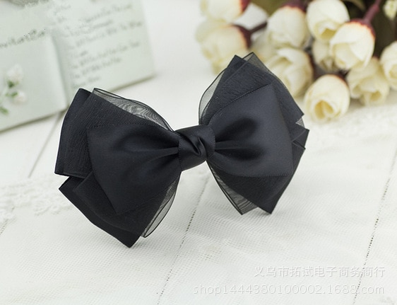 Lace hair accessories trend leather rope black simple professional bow ribbon duckbill clip hair ring spring clip handmade