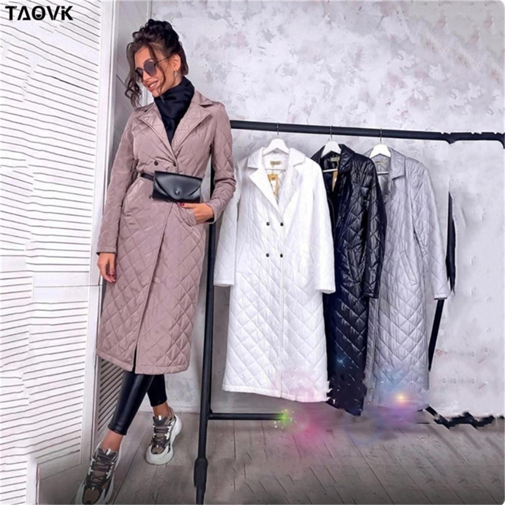 معطف شتوي طويل مستقيم من TAOVK مع نمط المعين وشاحات غير رسمية للنساء بجيوب عميقة وياقة مصممة حسب الطلب ملابس خارجية أنيقة