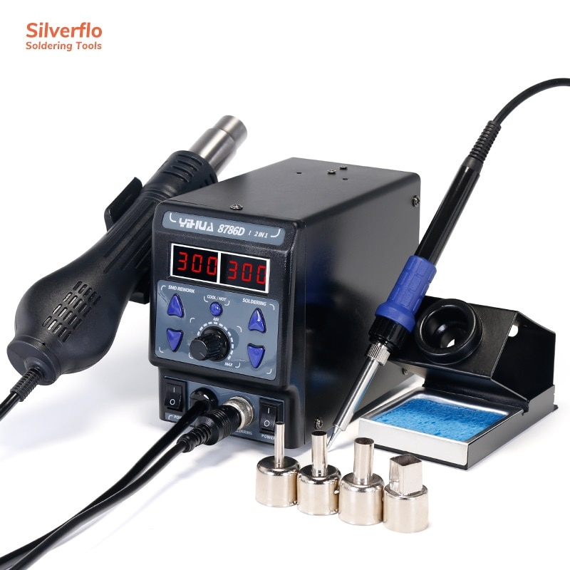 YIHUA 8786D-I 2 in 1 Soldering Iron Hot Air Gun BGA Rework Staion for Repair Welding Work 740W Welding Station