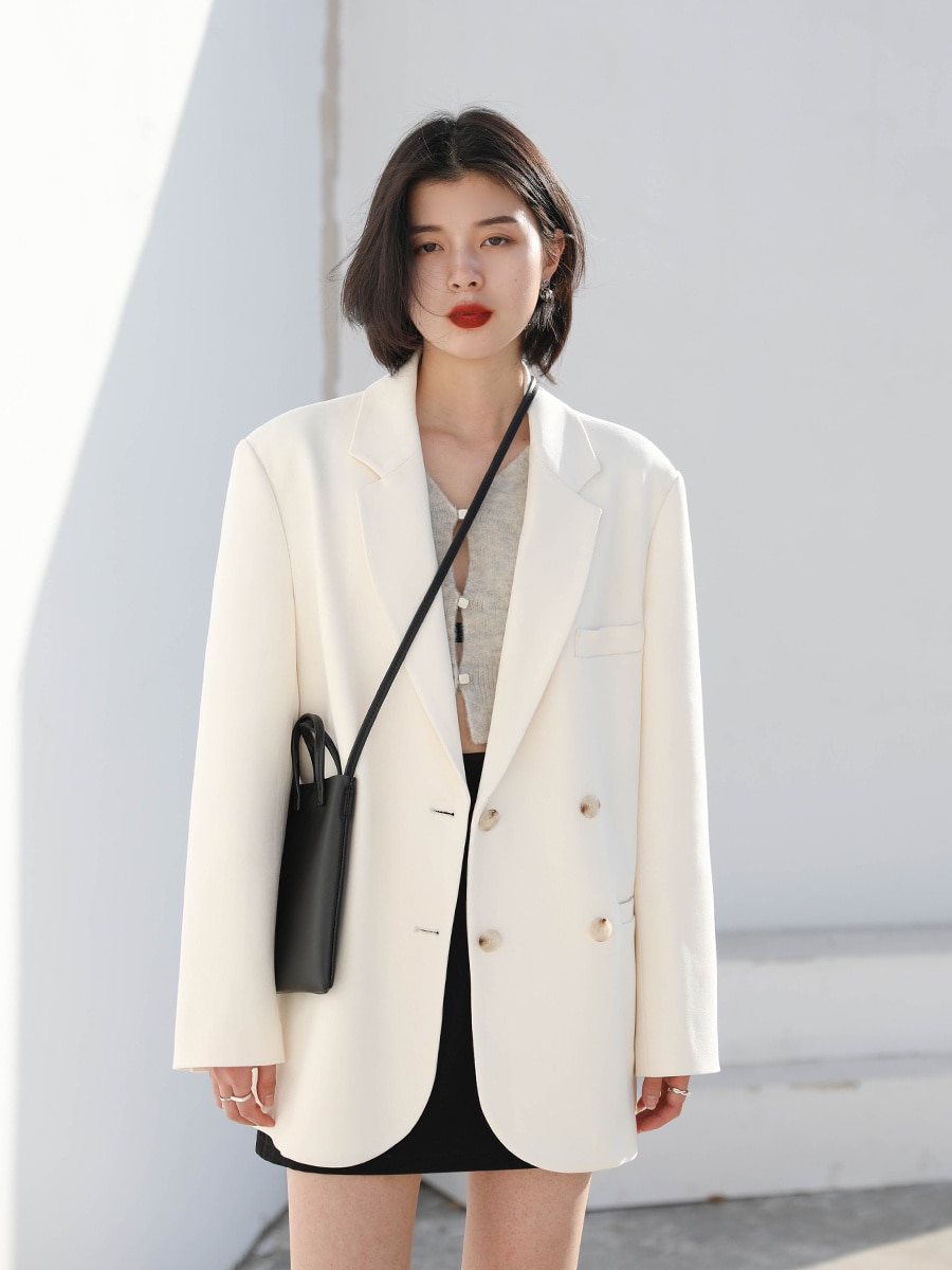 Street Casual Suit Loose Double Breasted White Suit Coat Women's Medium And Long Top Autumn 2021