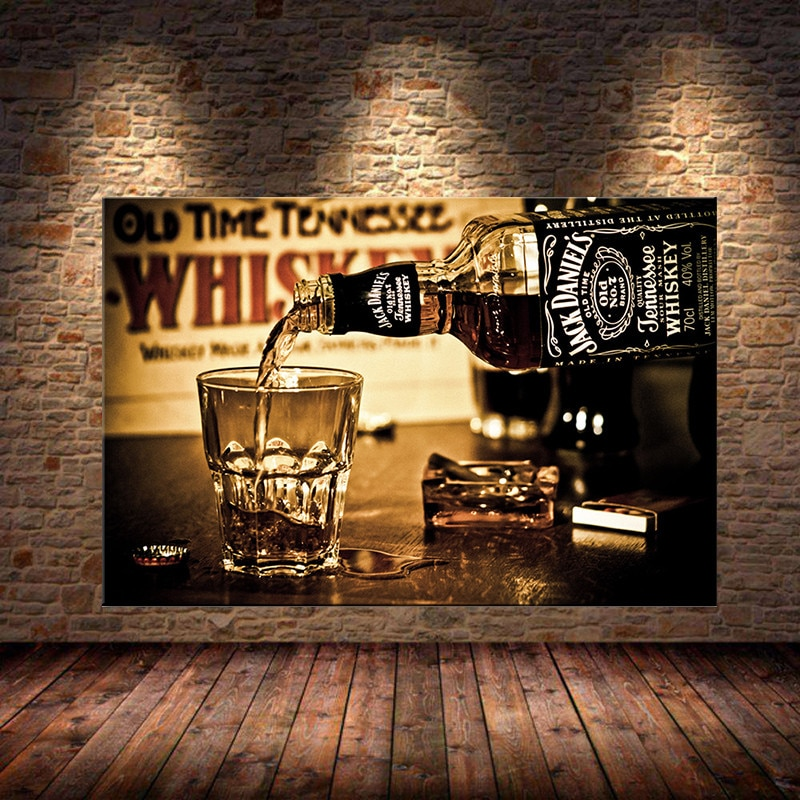 Whiskey Drink Posters & Wall Prints Modern Canvas Art Paintings Printed On Bar Decorative Picture For Home Decor Unframed