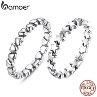 bamoer 925 sterling silver forever love heart finger ring original jewelry gift stackable bague korean jewelry pa7108