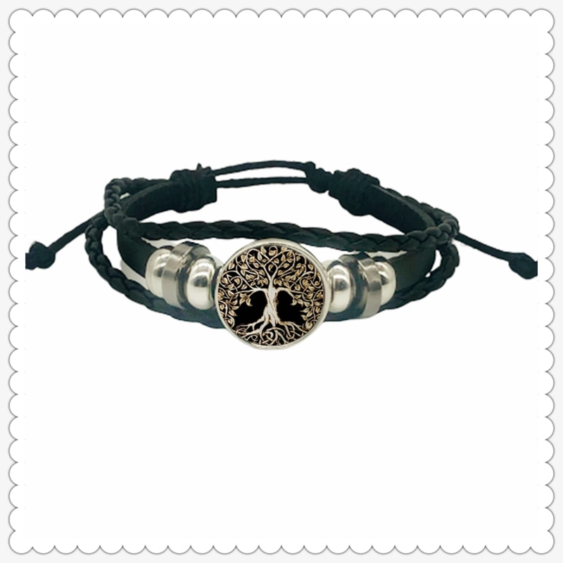 Tree of Life Series Pattern Leather Bracelet Classic Fashion Men and Women Bracelet Gift Jewelry