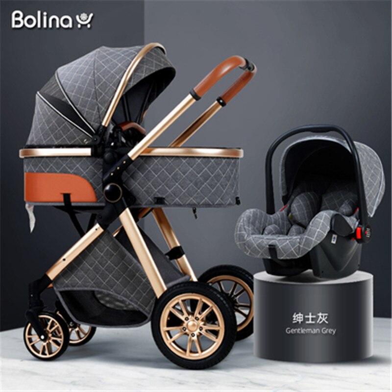 عربة أطفال خفيفة الوزن 3 في 1 قابلة للإمالة ، عربة أطفال عالية المناظر الطبيعية ، مهد قابل للطي ، 2020