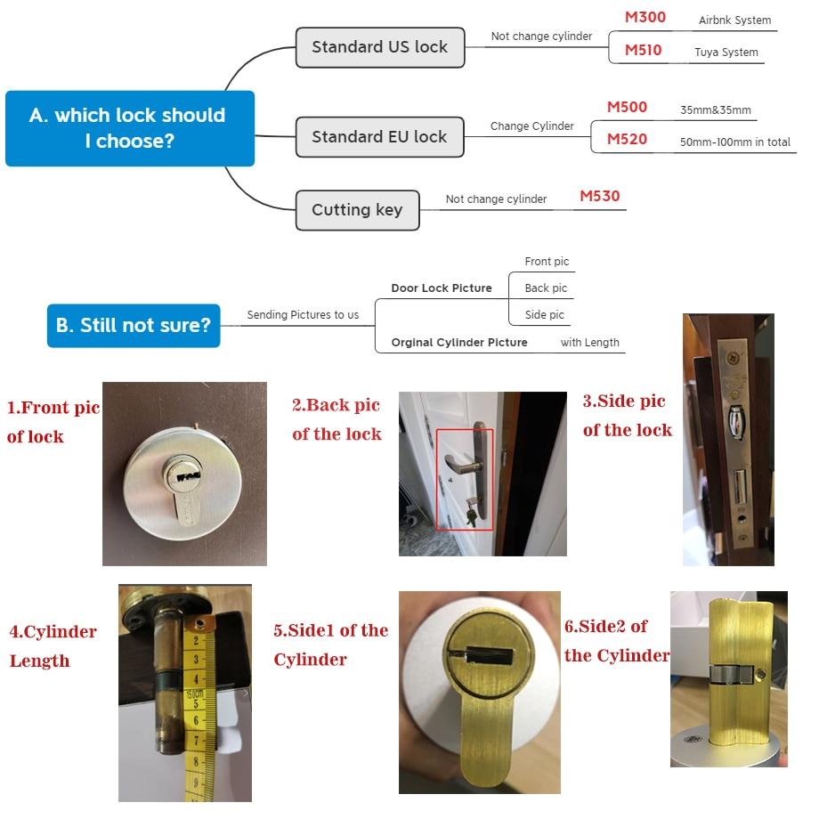 M531TUYA Smart Lock Fingerprint Smart Home Remote Control Wifi Wireless Original Cylinder cut key/remove switch SPAIN