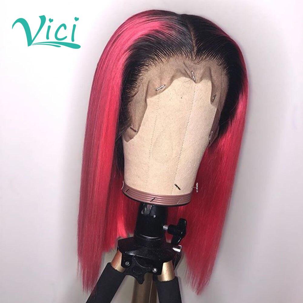 1 B Peluca de cabello humano Rosa Ombre peluca frontal de encaje parte profunda 13x6 Peluca de cabello humano frontal de encaje Peluca de color rosa corta recta Bob Peluca de encaje