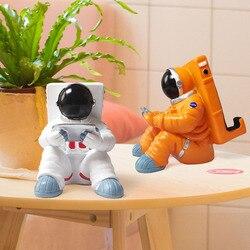 Nordic spaceman preguiçoso titular do telefone móvel estatuetas astronauta apple ipad tablet computador suporte personalizado presente de aniversário