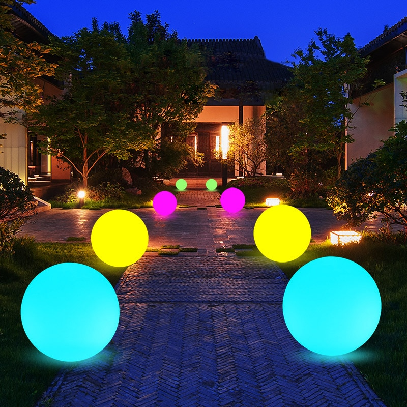 thrisdar 16 color ip68 globe ball garden landscape lawn pathway deck light remote control led swimming pool floating ball light Waterproof 16 Color Outdoor Garden Glowing Ball Light Remote Lawn Lamps Patio Landscape Pathway LED illuminated Holiday Lighting